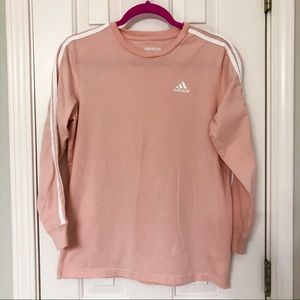 ADIDAS • Classic Striped Coral Long Sleeve Tee • L